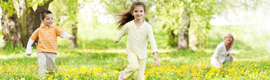 Ein Junge, ein Mädchen und ihre Mutter spielen auf einer Blumenwiese im Sonnenschein.