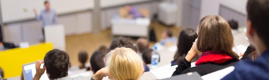 Ein Hörsaal während einer Vorlesung, die Hinterköpfe von sitzenden Studierenden und eine Person am Pult sind zu sehen.